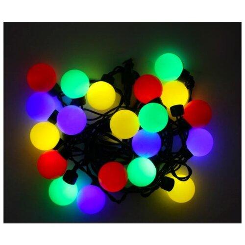 Электрогирлянда БОЛЬШИЕ РАЗНОЦВЕТНЫЕ МУЛЬТИШАРИКИ, 100 разноцветных LED ламп, 15м, коннектор, черный провод, уличные, SN