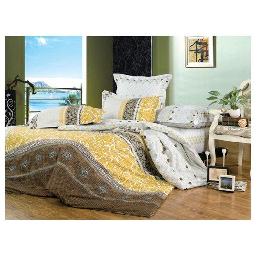цена Постельное белье 2-спальное СайлиД B-122, сатин желтый/белый/коричневый онлайн в 2017 году