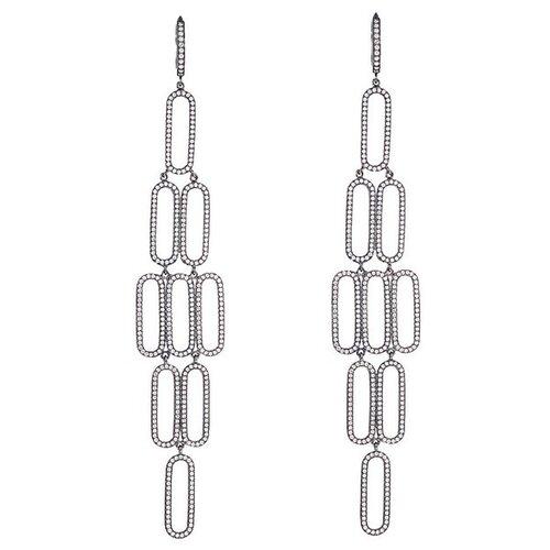 JV Серебряные серьги с кубическим цирконием MPE-107-SR-001-BLK