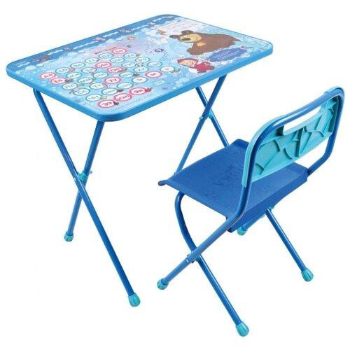 Купить Комплект Nika стол + стул Маша и Медведь с азбукой (КП/18) 60x45 см голубой/синий, Парты и столы