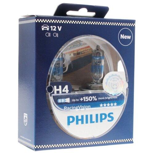 Лампа автомобильная галогенная Philips Racing Vision +150% H4 (P43t) 12V 60/55W 2 шт. лампа галогенная general electric h4 12v 60 55w p43t белый яркий свет голуб оттен 4200к sportlight ultra к уп 2шт 90901 50440sbu ку 2