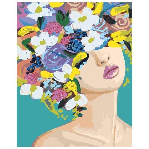 Купить Картина по номерам Живопись по Номерам Девушка в цветах 9 , 40x50 см, Живопись по номерам, Картины по номерам и контурам