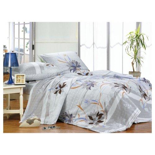 Постельное белье 1.5-спальное СайлиД A-108, поплин, 70 х 70 см серый/голубой