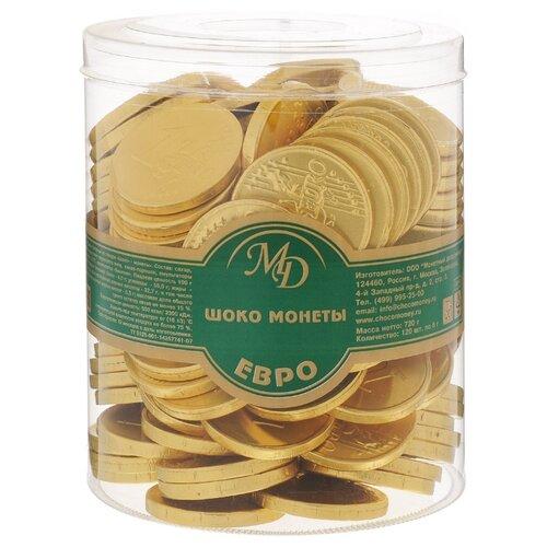 Фигурный шоколад Монетный двор Шоко монеты Евро, молочный шоколад, банка (120 шт.) монетный двор сердечки набор молочный шоколад 75 г