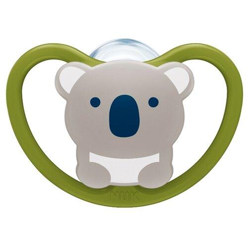 Купить Пустышка силиконовая ортодонтическая NUK Space 18-36 м (1 шт) коала, Пустышки и аксессуары