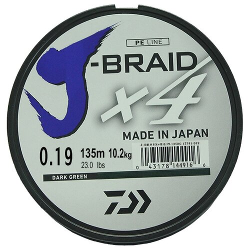 Плетеный шнур DAIWA J-Braid X4 dark green 0.19 мм 135 м 10.2 кг