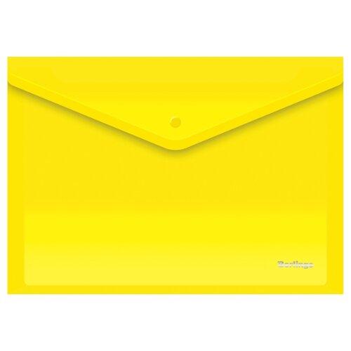 Купить Berlingo Папка-конверт на кнопке A4, пластик 180 мкм, 10 штук желтый, Файлы и папки