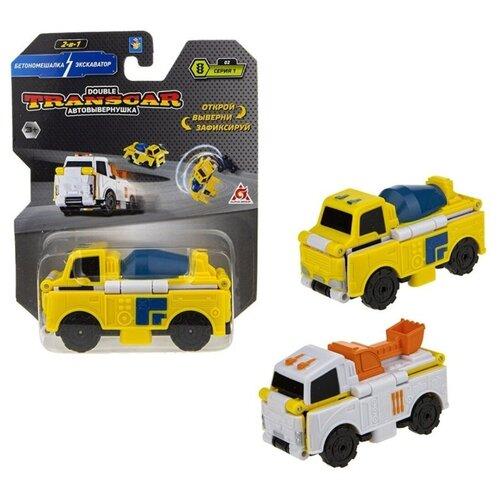 Купить Машинка 1 TOY Transcar Double 2 в 1: Бетономешалка/Экскаватор (Т18278) 8 см желтый/белый, Машинки и техника