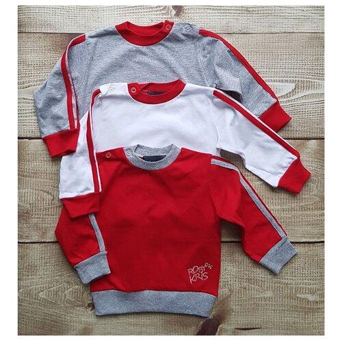 Свитшот RobyKris размер 80/86, красный/белый/серый платье oodji ultra цвет красный белый 14001071 13 46148 4512s размер xs 42 170