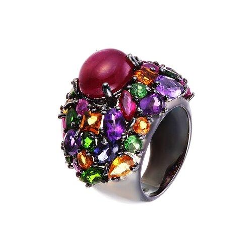 ELEMENT47 Широкое ювелирное кольцо из серебра 925 пробы с рубином облагороженным, цветными полудрагоценными камнями и сапфирами R94_RO_SA_MC_BLK, размер 17.75