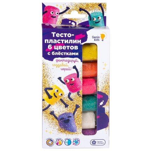 Купить Масса для лепки Genio Kids 6 цветов с блёстками (ТА1091), Пластилин и масса для лепки