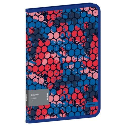 Купить Berlingo Папка на молнии Sparkle А4, 600 мкм, пластик синий/розовый, Файлы и папки