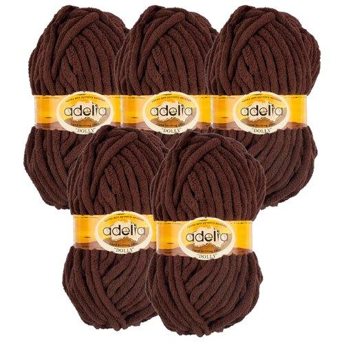 Купить Пряжа Adelia Dolly однотонная, 100 % полиэстер, 100 г, 40 м, 5 шт., №08 коричневый