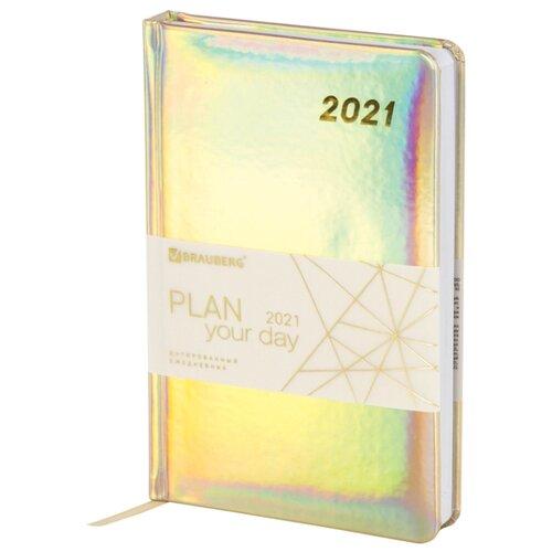 Купить Ежедневник BRAUBERG Holiday датированный на 2021 год, искусственная кожа, А5, 168 листов, золотистый, Ежедневники, записные книжки