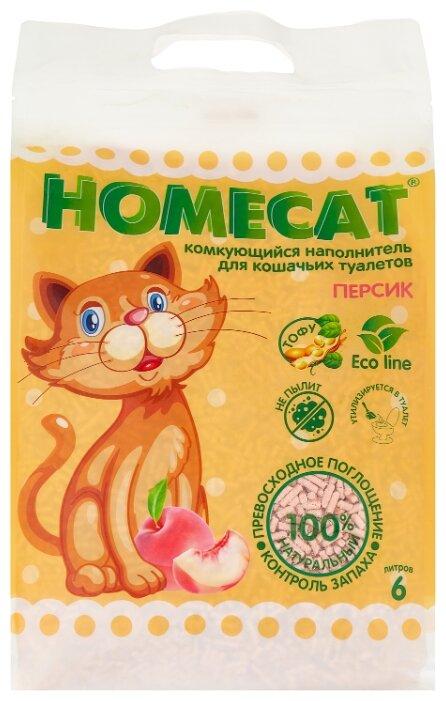 Комкующийся наполнитель Homecat Эколайн Персик 6 л — купить по выгодной цене на Яндекс.Маркете