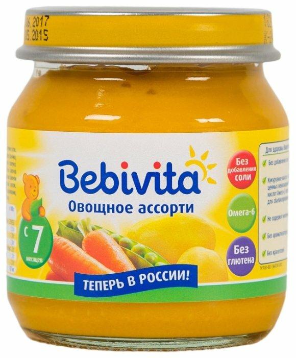 Пюре Bebivita овощное ассорти (с 7 месяцев) 100 г, 1 шт.