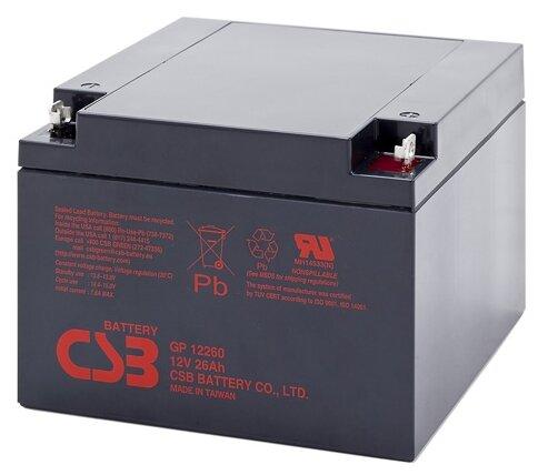 Аккумулятор CSB GP-12260 (12В, 26Ач/ 12V, 26Ah / вывод под гайку и болт М5)