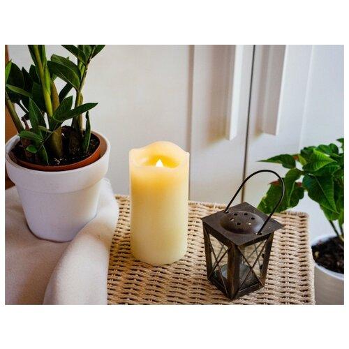 Восковая свеча-проектор ЛАЗЕРНЫЕ ЧУДЕСА, кремовая, 2 красных LED-огня, 4 варианта узоров проекции, 15 см, таймер, Kaemin