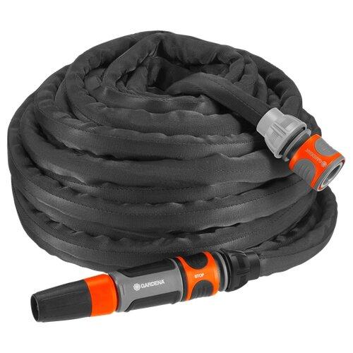 Комплект для полива GARDENA с текстильным шлангом Liano 15 метров (18431-20) черный/оранжевый ножницы для живой изгороди gardena li 40 черный 09836 20 000 00