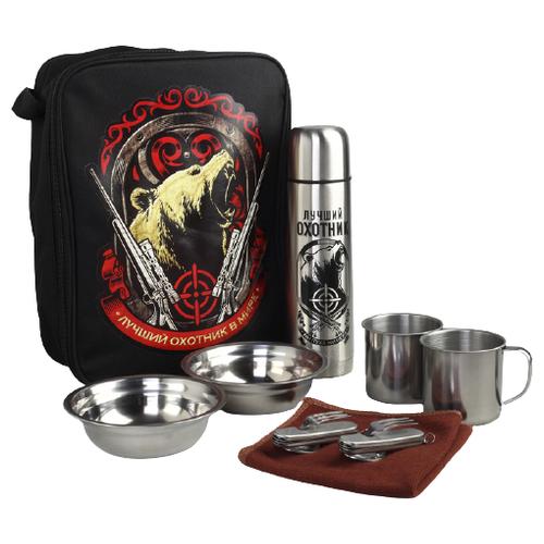 Набор туристической посуды Komandor Лучший охотник в мире 4503220, 8 шт. серый