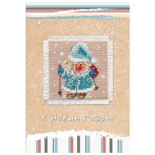 Купить Алиса Набор для изготовления открытки с вышивкой Дед Мороз 5, 7 x 5, 7 см (7-01), Наборы для вышивания