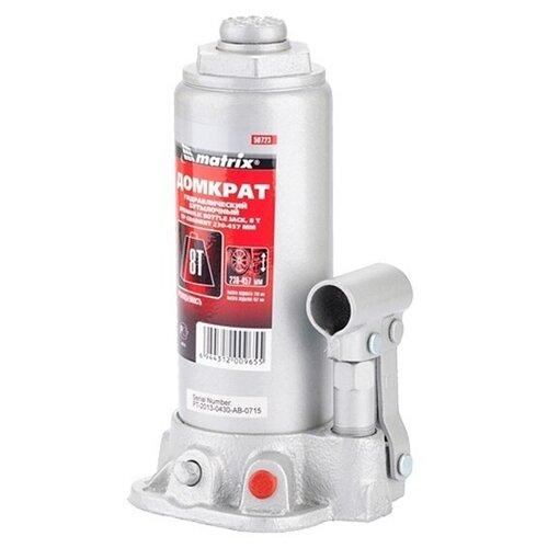 Домкрат бутылочный гидравлический matrix 50723 (8 т) стальной домкрат гидравлический бутылочный matrix 8т 230 457мм master 50723