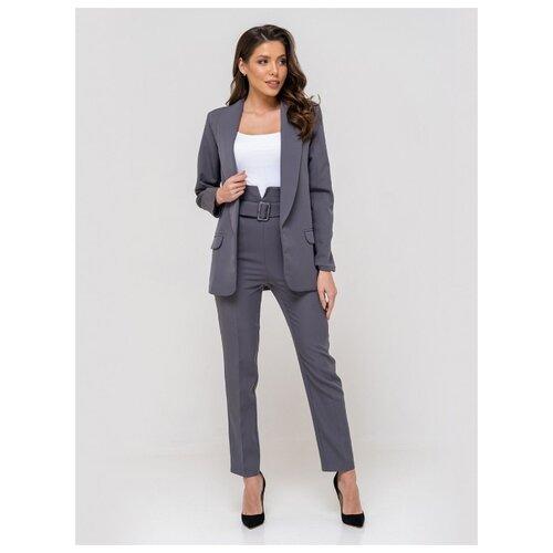 Женский классический костюм двойка, укороченные брюки с завышенной талией, удлиненный прямой пиджак оверсайз oversize, серый цвет, размер 46