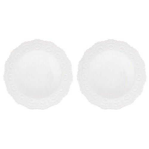 Elan gallery Набор десертных тарелок Белый узор 28 см, 2 шт (540156) белый elan gallery набор тарелок для закуски белый узор 20 5 см 2 шт 540157 белый