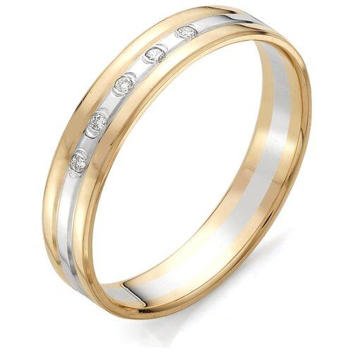 АЛЬКОР Кольцо с бриллиантами из красного золота 12377-100, размер 20 фото