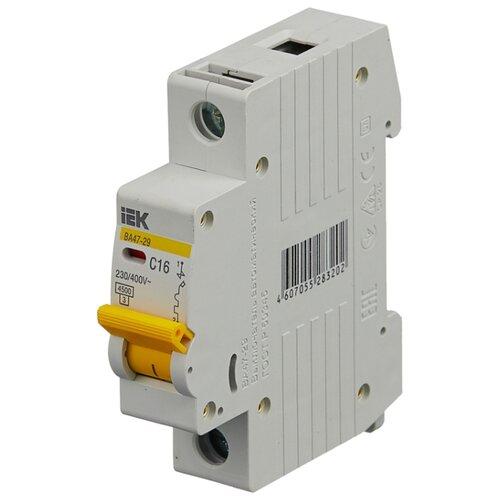 Автоматический выключатель IEK ВА 47-29 1P (C) 4,5kA 16 А автомат iek 3п c 40а ва 47 100