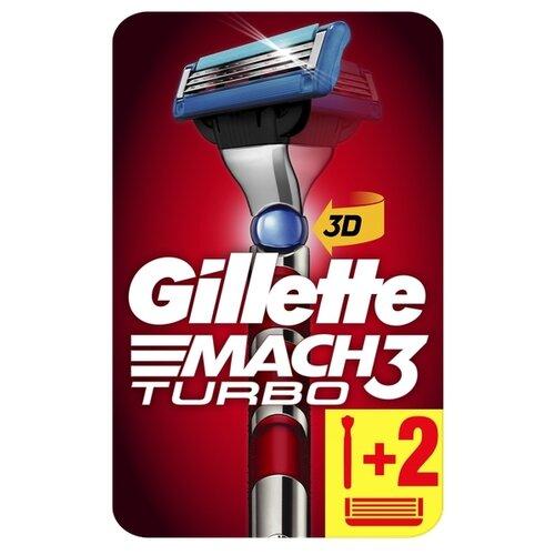 Фото - Бритвенный станок Gillette Mach3 Turbo технология 3D Motion ,серебристый/красный, сменные кассеты 2 шт. бритвенный станок mach3 r717cr