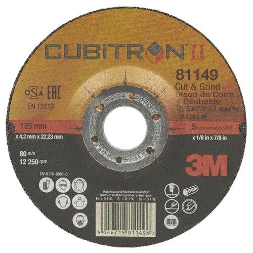 Фото - Диск отрезной 125x4.2x22.23 3M Cubitron II Cut & Grind T27 81149 1 шт. диск отрезной 125x1 6x22 23 3m