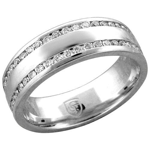 Эстет Кольцо с 92 бриллиантами из белого золота 01О620460, размер 17.5