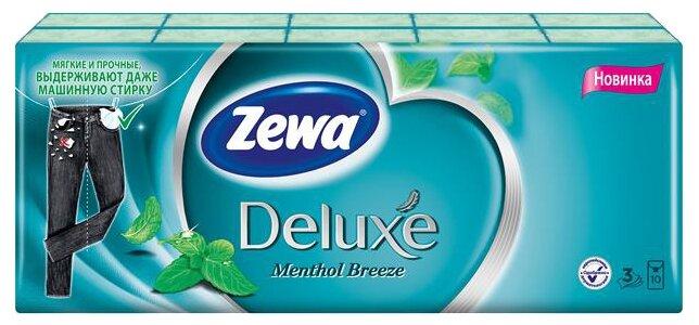 Платочки Zewa Deluxe Ментол бумажные носовые, 3 слоя, 10 шт. х 10 100 шт.