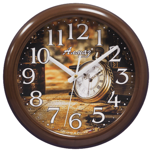 Часы настенные кварцевые Алмаз H56 коричневый