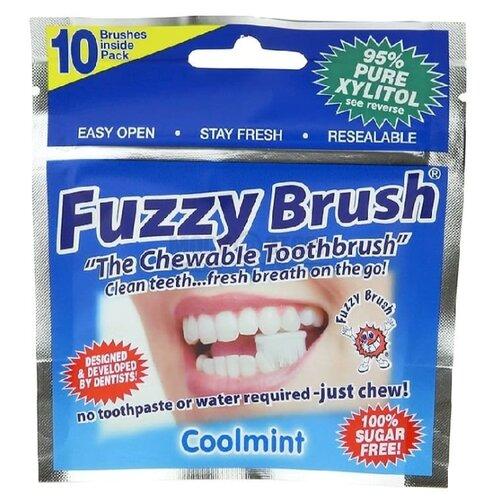 Зубная щетка Fuzzy Brush жевательная 95% ксилитола, белый, 10 шт.Зубные щетки<br>