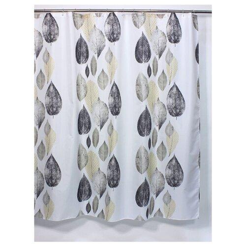 Штора для ванной Bath Plus Leaf Story 180х180 белый/бежевый/серый