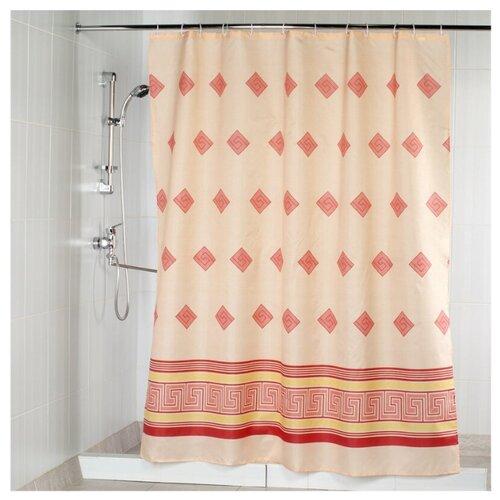 Штора для ванной Aquarius Ромбы 180х200 красный штора для ванной joyarty глаз в цветочном узоре 180х200 sc 19372