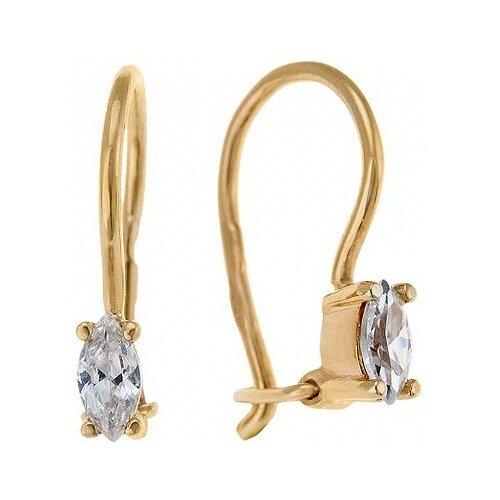 цена на ЛУКАС Серьги с 2 фианитами из красного золота E01-Z-59405-Z