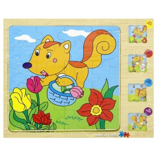 Купить Набор рамок-вкладышей Junfa toys Деревянные (DX-D402), Пазлы