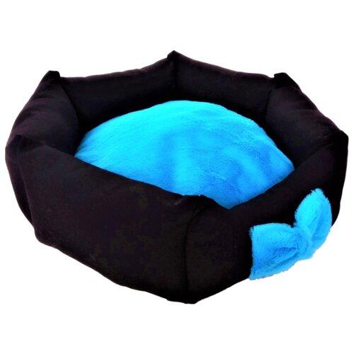 Лежак для собак и кошек LOORI шестиугольник Magic 52х50х15 см черный/голубой