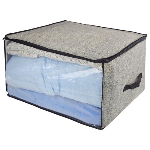 Vetta Кофр для подушек и одеял с прозрачным окном 60х50х35см серый
