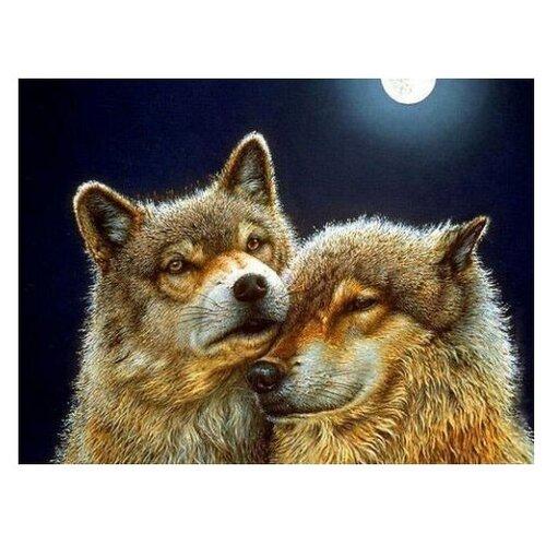 Алмазная живопись Набор алмазной вышивки Волки и волчица (АЖ-1200) 60x45 смАлмазная вышивка<br>
