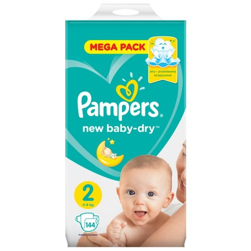 Pampers подгузники New Baby Dry 2 (4-8 кг) 144 шт. pampers подгузники pampers new baby dry 4–8 кг размер 2 94 шт