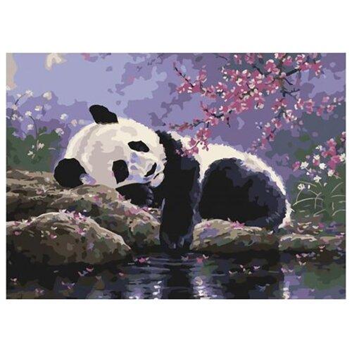 Купить Картина по номерам Paintboy EX 6535 Отдых панды в саду под сакурой 30*40, Картины по номерам и контурам