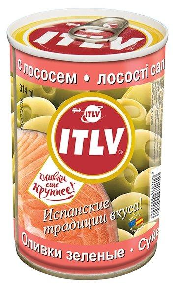 ITLV Оливки зеленые с лососем в рассоле, жестяная банка 300 г
