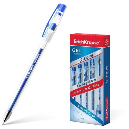 Купить ErichKrause набор гелевых ручек G-Point 12 шт., 0.38 мм (17627/17628/17629), синий цвет чернил, Ручки
