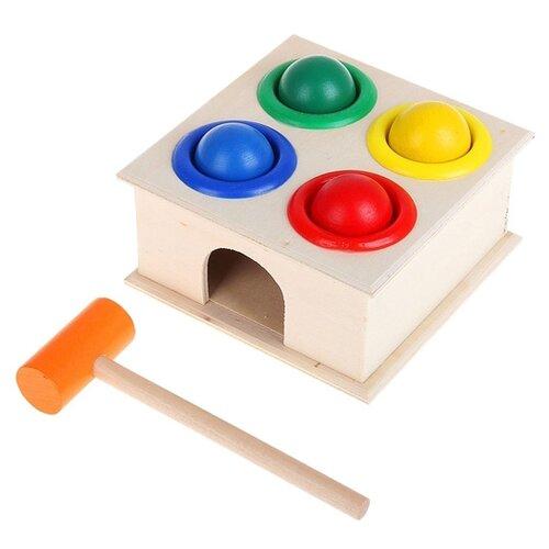 Купить Стучалка Лесная мастерская квадратная с 4 шариками и молоточком голубой/желтый/зеленый/красный, Развитие мелкой моторики