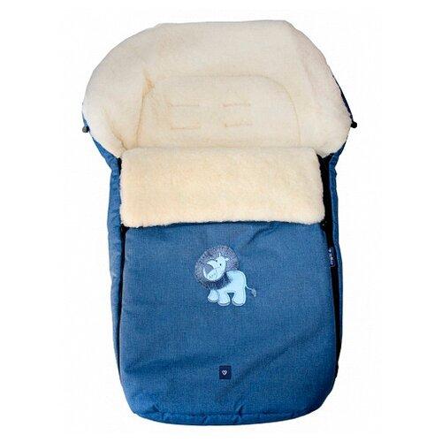Купить Конверт-мешок Womar S77 Exlusive Lion melange fabric в коляску 95 см синий, Конверты и спальные мешки