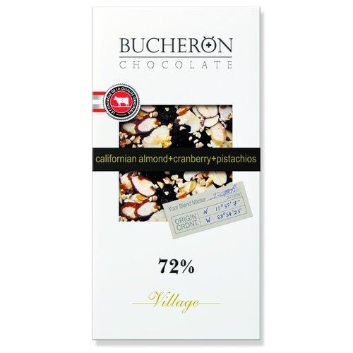 шоколад bucheron village горький с миндалем 100 г Шоколад Bucheron Village горький с миндалем, клюквой и фисташками, 100 г